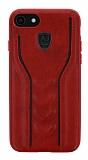 Eiroo AJ Casual iPhone 7 / 8 Deri Kırmızı Rubber Kılıf