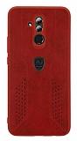 Eiroo AJ Retro Huawei Mate 20 Lite Deri Kırmızı Rubber Kılıf