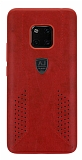 Eiroo AJ Retro Huawei Mate 20 Pro Deri Kırmızı Rubber Kılıf