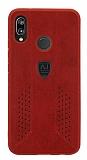 Eiroo AJ Retro Huawei Mate P20 Lite Deri Kırmızı Rubber Kılıf