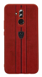 Eiroo AJ Sport Huawei Mate 20 Lite Deri Kırmızı Rubber Kılıf