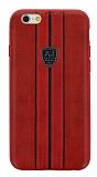Eiroo AJ Sport iPhone 6 / 6S Deri Kırmızı Rubber Kılıf