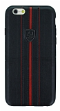 Eiroo AJ Sport iPhone 6 / 6S Deri Siyah Rubber Kılıf