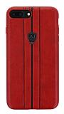 Eiroo AJ Sport iPhone 7 Plus / 8 Plus Deri Kırmızı Rubber Kılıf