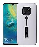 Eiroo Alloy Fit Huawei Mate 20 Pro Selfie Yüzüklü Silver Kılıf