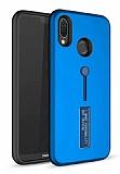 Eiroo Alloy Fit Huawei P Smart Plus Selfie Yüzüklü Mavi Kılıf