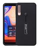 Eiroo Alloy Fit Samsung Galaxy A9 2018 Selfie Yüzüklü Siyah Kılıf