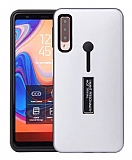 Eiroo Alloy Fit Samsung Galaxy A9 2018 Selfie Yüzüklü Silver Kılıf