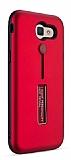 Eiroo Alloy Fit Samsung Galaxy J7 Prime Selfie Yüzüklü Kırmızı Metal Kılıf