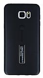 Eiroo Alloy Fit Samsung Galaxy Note 5 Selfie Yüzüklü Siyah Metal Kılıf