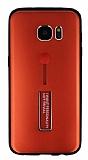 Eiroo Alloy Fit Samsung Galaxy S7 Edge Selfie Yüzüklü Kırmızı Metal Kılıf