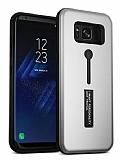 Eiroo Alloy Fit Samsung Galaxy S8 Plus Selfie Yüzüklü Silver Metal Kılıf