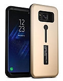 Eiroo Alloy Fit Samsung Galaxy S8 Plus Selfie Yüzüklü Gold Metal Kılıf
