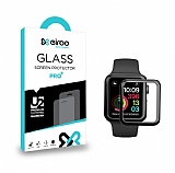 Eiroo Apple Watch 4 / Watch 5 Tempered Glass Premium Siyah Full Cam Ekran Koruyucu (44 mm)