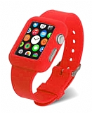 Eiroo Apple Watch Silikon Kordon K�rm�z� K�l�f (42 mm)