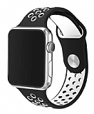 Eiroo Apple Watch / Watch 2 / Watch 3 Siyah-Beyaz Spor Kordon (42 mm)