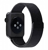 Eiroo Apple Watch / Watch 2 Milanese Loop Manyetik Siyah Kordon (42 mm)
