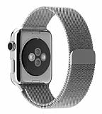 Eiroo Apple Watch / Watch 2 Milanese Loop Manyetik Silver Kordon (42 mm)
