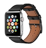 Eiroo Apple Watch / Watch 2 / Watch 3 Siyah Deri Kordon (42 mm)