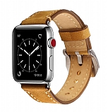 Eiroo Apple Watch / Watch 2 / Watch 3 Kahverengi Deri Kordon (42 mm)