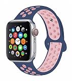 Eiroo Apple Watch / Watch 2 / Watch 3 Mavi-Pembe Spor Kordon (42 mm)