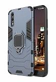 Eiroo Armor Huawei P20 Pro Standlı Ultra Koruma Lacivert Kılıf