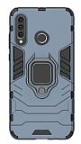 Eiroo Armor Huawei P30 Lite Standlı Ultra Koruma Lacivert Kılıf