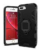 Eiroo Armor iPhone 7 Plus / 8 Plus Standlı Ultra Koruma Siyah Kılıf