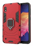 Eiroo Armor Samsung Galaxy A10 Standlı Ultra Koruma Kırmızı Kılıf