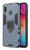 Eiroo Armor Samsung Galaxy A20 / A30 Standlı Ultra Koruma Lacivert Kılıf