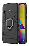 Eiroo Armor Samsung Galaxy M20 Standlı Ultra Koruma Siyah Kılıf