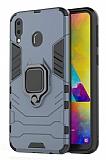 Eiroo Armor Samsung Galaxy M20 Standlı Ultra Koruma Lacivert Kılıf