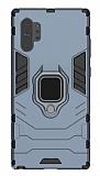 Eiroo Armor Samsung Galaxy Note 10 Plus Standlı Ultra Koruma Lacivert Kılıf