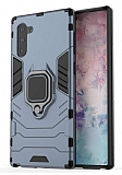 Eiroo Armor Samsung Galaxy Note 10 Standlı Ultra Koruma Lacivert Kılıf