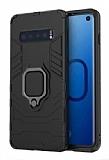 Eiroo Armor Samsung Galaxy S10 Standlı Ultra Koruma Siyah Kılıf