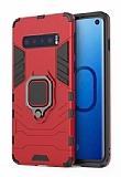 Eiroo Armor Samsung Galaxy S10 Standlı Ultra Koruma Kırmızı Kılıf