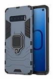 Eiroo Armor Samsung Galaxy S10 Standlı Ultra Koruma Lacivert Kılıf