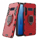 Eiroo Armor Samsung Galaxy S10e Standlı Ultra Koruma Kırmızı Kılıf