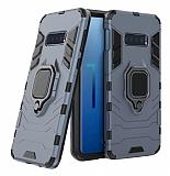 Eiroo Armor Samsung Galaxy S10e Standlı Ultra Koruma Lacivert Kılıf