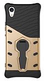 Eiroo Armored Bug Sony Xperia XA1 Standlı Ultra Koruma Gold Kılıf