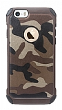 Eiroo Army iPhone SE / 5 / 5S Kamuflaj Ultra Koruma Kahverengi Kılıf