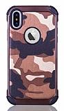 Eiroo Army iPhone X Ultra Koruma Kahverengi Kılıf