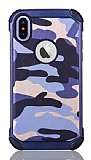 Eiroo Army iPhone X Ultra Koruma Lacivert Kılıf