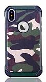 Eiroo Army iPhone X Ultra Koruma Yeşil Kılıf