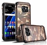 Eiroo Army Samsung Galaxy S7 Edge Ultra Koruma Kahverengi Kılıf