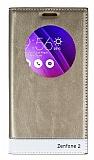 Asus Zenfone 2 Gizli Mıknatıslı Uyku Modlu Gold Kılıf