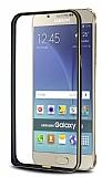 Eiroo Samsung Galaxy A8 Gold Çizgili Siyah Metal Bumper Kılıf