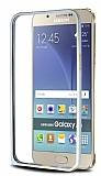 Eiroo Samsung Galaxy A8 Gold Çizgili Silver Metal Bumper Kılıf