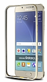 Eiroo Samsung Galaxy A8 Gold Çizgili Gold Metal Bumper Kılıf