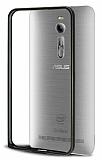 Eiroo Asus ZenFone 2 Gold Çizgili Siyah Metal Bumper Kılıf